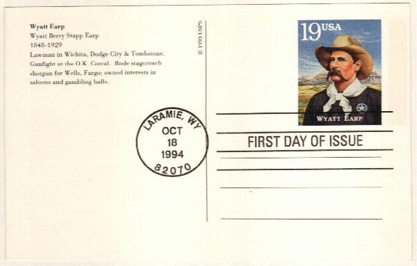 1994 19c Wyatt Earp Postal Card