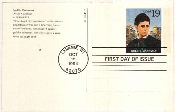 1994 19c Nellie Cashman Postal Card