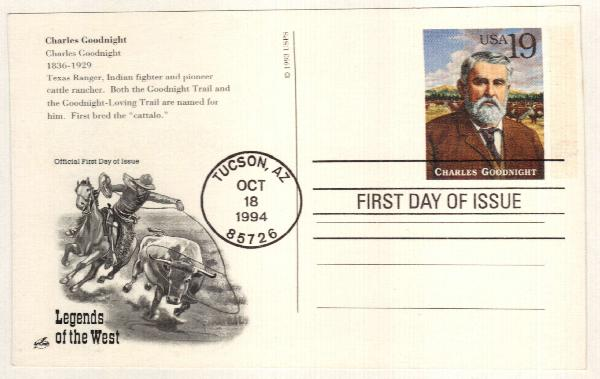 1994 19c Charles Goodnight Postal Card