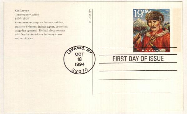 1994 19c Kit Carson Postal Card