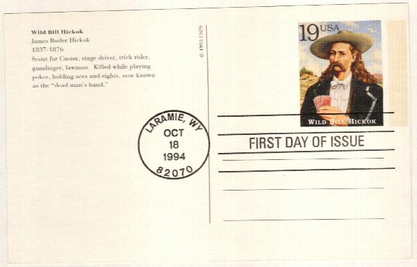 1994 19c Wild Bill Hickok Postal Card