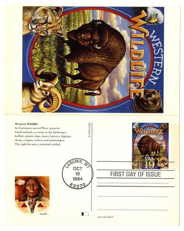 1994 19c Western Wildlife Postal Card