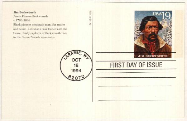 1994 19c Jim Beckwourth Postal Card