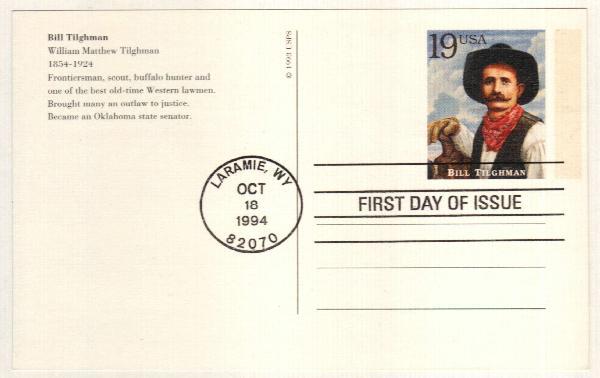 1994 19c Bill Tilghman Postal Card