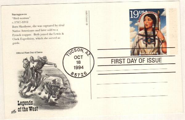 1994 19c Sacagawea Postal Card