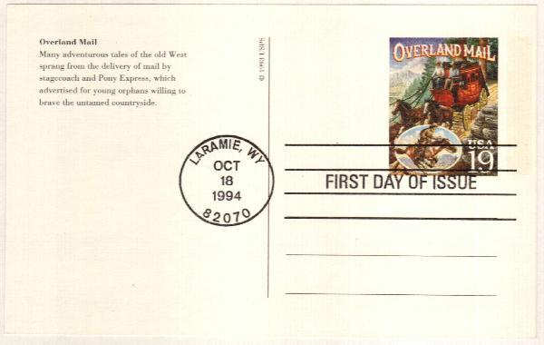 1994 19c Overland Mail Postal Card