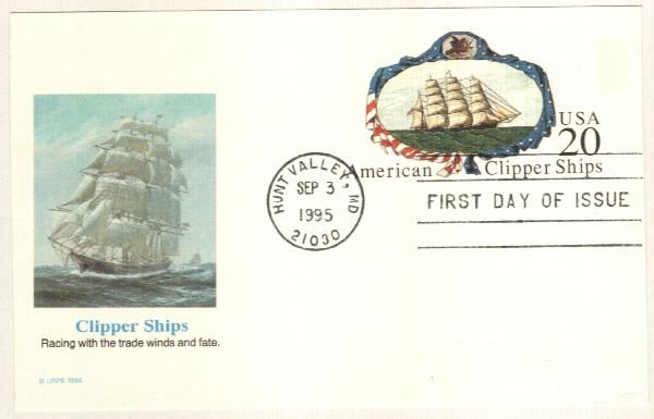 1995 20c Clipper Ship PC FDC