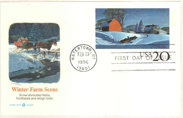 1996 20c Winter Farm Scene Postal Card FDC