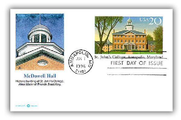 1996 20c St. Johns College Postal Card FDC