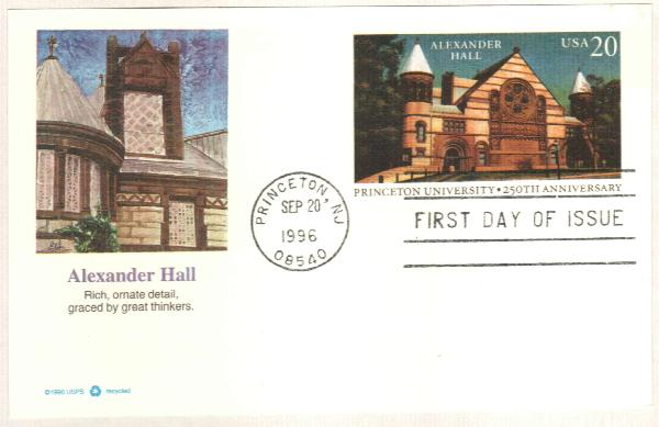 1996 20c Princeton University Postal Card FDC