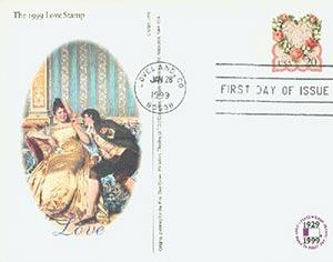 1999 20c Victorian Love PC FDC