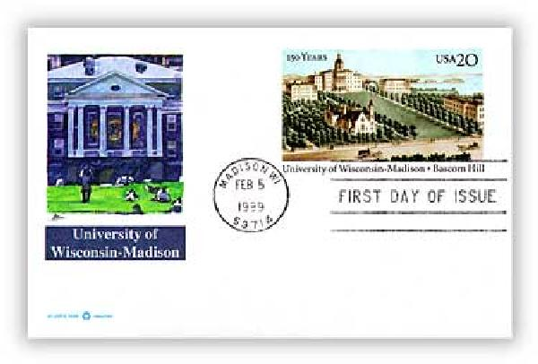 1999 20c Wisconsin & Madison Un PC FDC