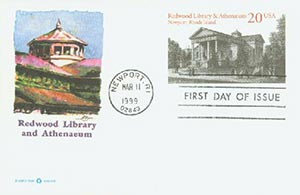 1999 20c Redwood Library and Athenaeum PC FDC