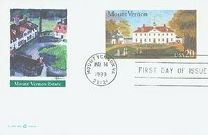 1999 20c Mount Vernon PC FDC