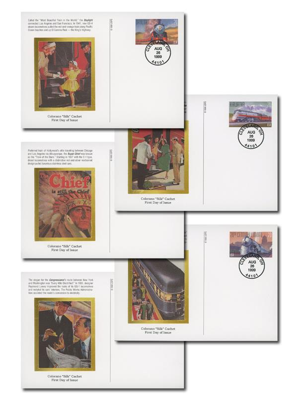 1999 All Aboard First Day Postal Card Set of 5