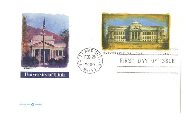 1999 20c University of Utah PC FDC