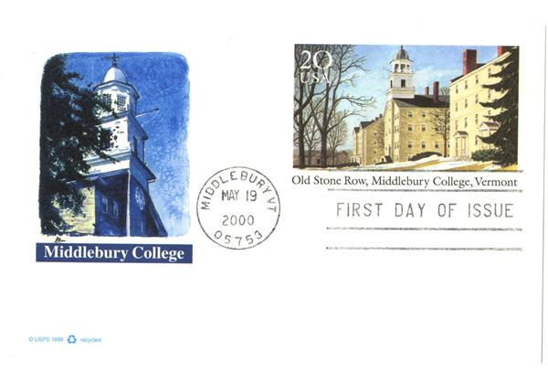 2000 20c Middlebury College PC FDC