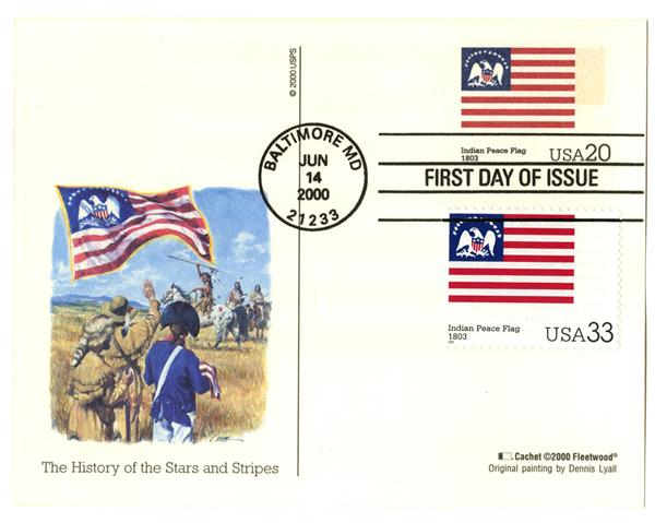 2000 20c Indian Peace Flag PC FDC