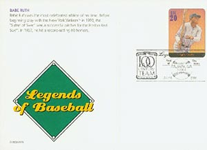 2000 20c Babe Ruth PC FDC