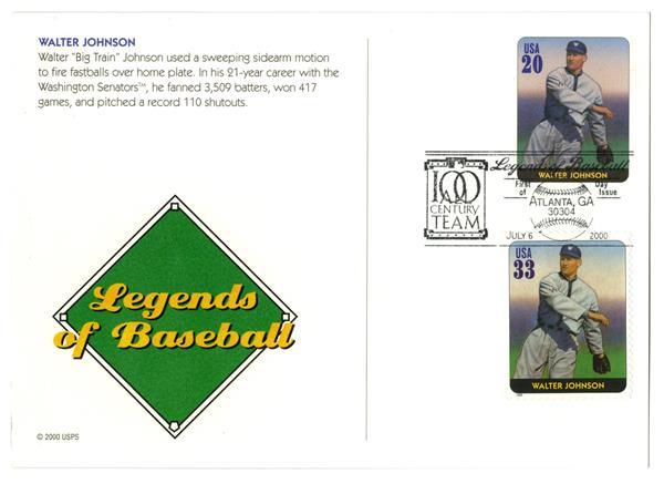 2000 Walter Johnson PC & PSA Stamp Combo FDC