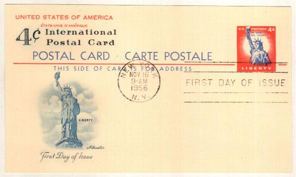 US 1956 4c Statue of Liberty Postal Card