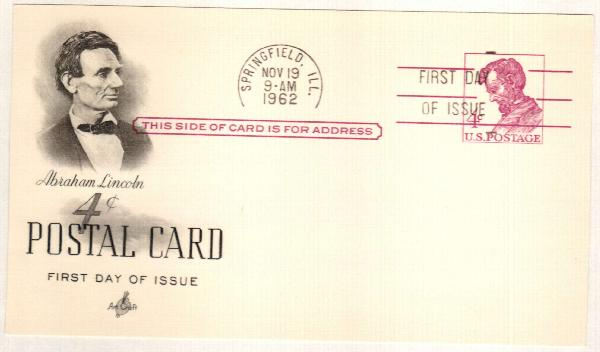 US 1962 4c Lincoln Postal Card