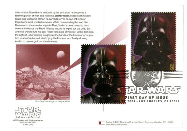 2007 26c Star Wars-Vader w/stamps added