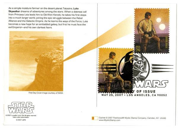 2007 26c Star Wars-Skywalker w/stamp add