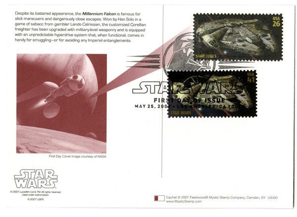 2007 26c Star Wars-M. Falcon w/stamp add