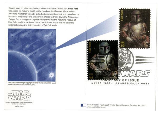 2007 26c Star Wars-Boba Fett w/stamp add