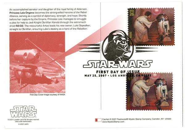 2007 26c Star Wars-P.Leia w/stamp added