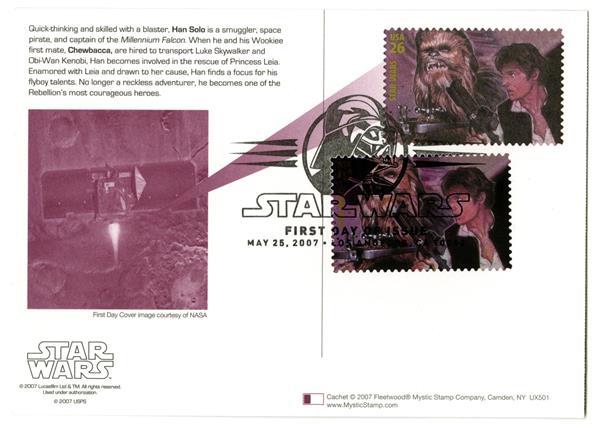 2007 26c Star Wars-Hans Solo w/stamp add