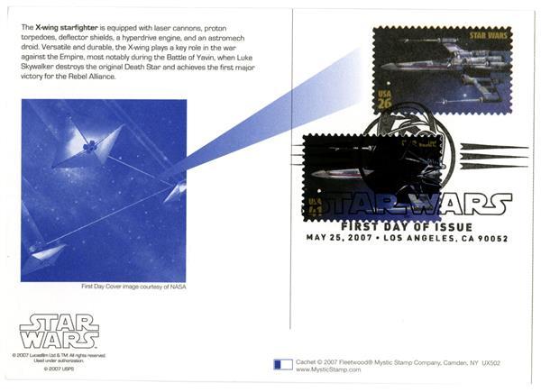 2007 26c Star Wars-X-Wing w/stamp added