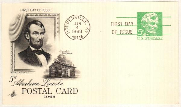 US 1968 5c Lincoln Postal Card