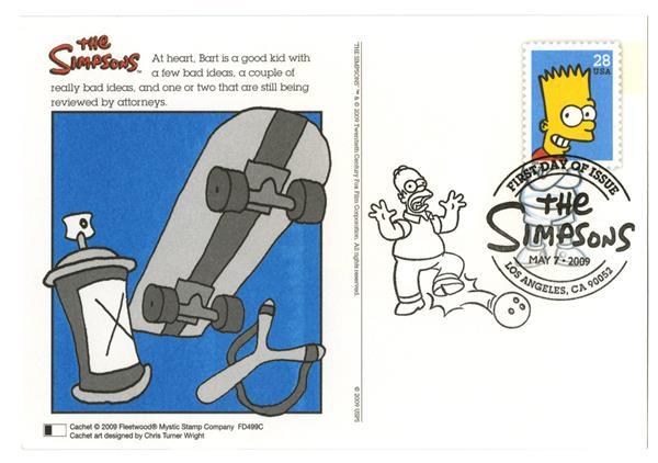 2009 28c Simpsons, Bart post card