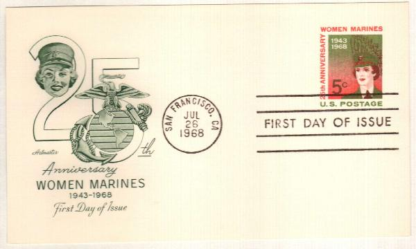US 1968 5c Women Marines Postal Card
