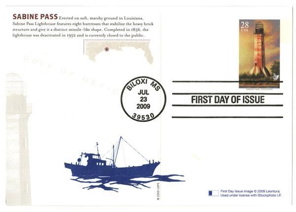 2009 28c Sabine Pass Lighthouse postcard