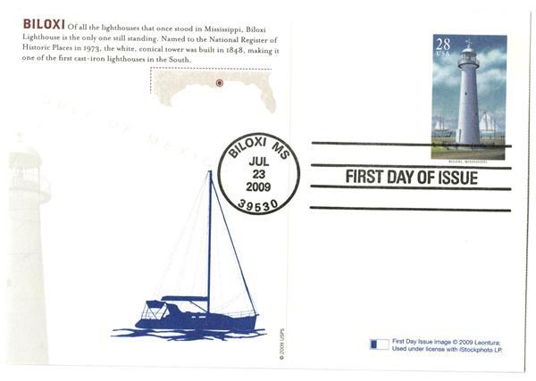 2009 28c Biloxi Lighthouse postcard