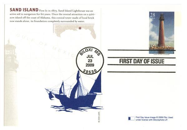 2009 28c Sand Is. Lighthouse postcard