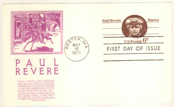 US 1971 6c Paul Revere Postal Card