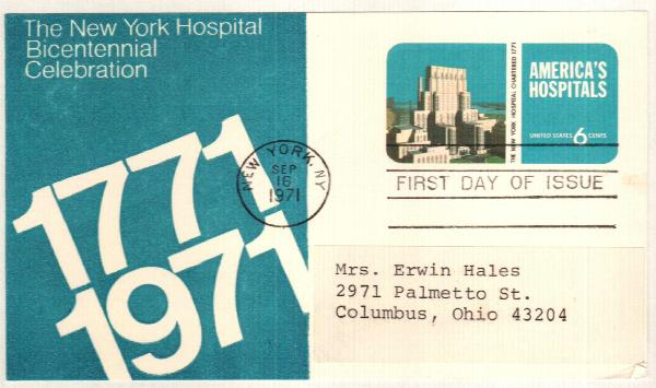 US 1971 6c New York Hospital Postal Card