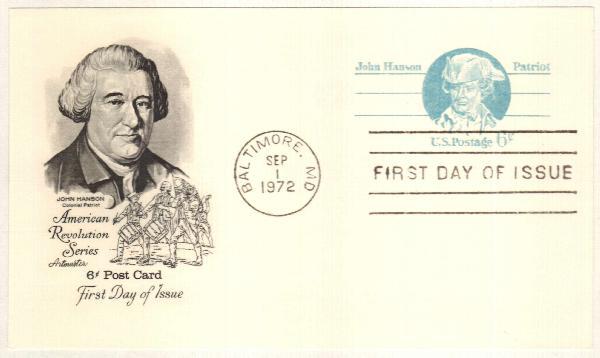 US 1972 6c John Hanson Postal Card