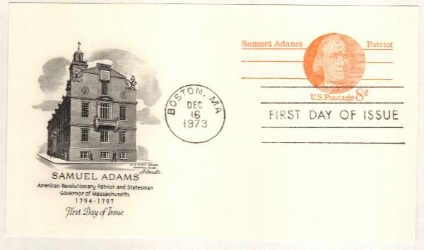 US 1973 8c Samuel Adams Postal Card
