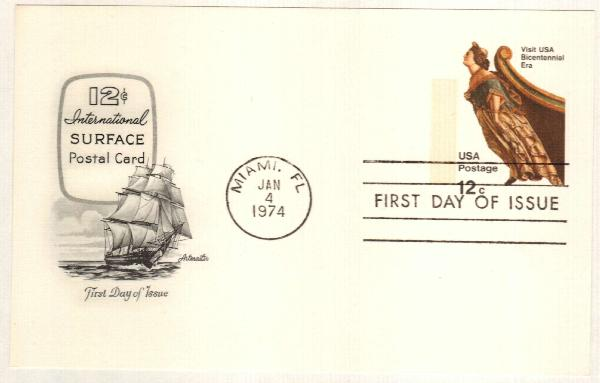 US 1974 12c Ship Figurehead Postal Card