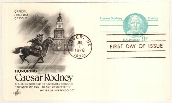US 1976 9c Caesar Rodney Postal Card
