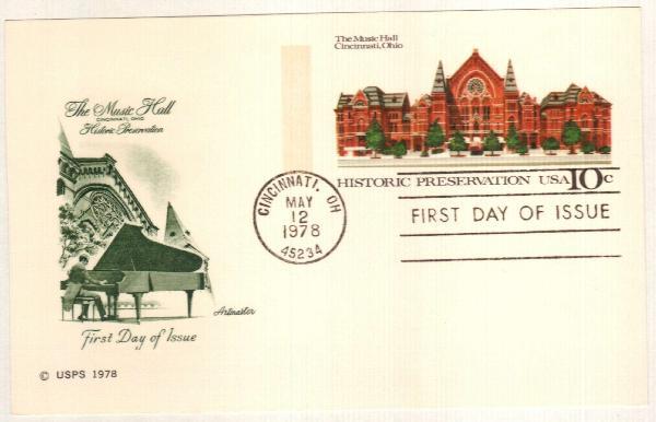 US 1978 10c Cincinnati Music Hall Postal