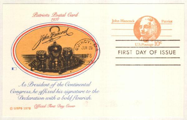 US 1978 10c John Hancock Postal Card