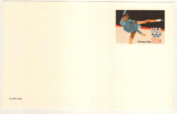 US 1980 14c Winter Olympics Postal Card