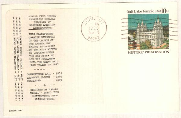 US 1980 10c Salt Lake Temple Postal Card