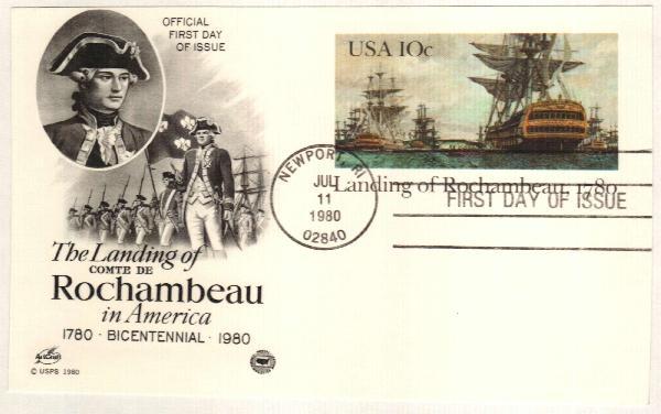 U.S. #UX84 – Postal card commemorating Rochambeau's arrival in America.